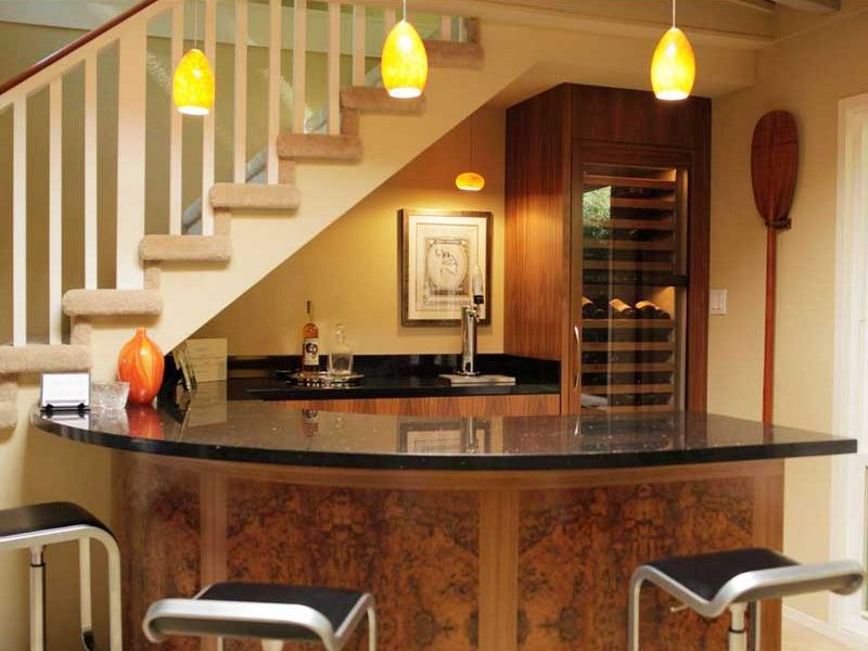 cheap basement bar ideas complete with pendant lamps